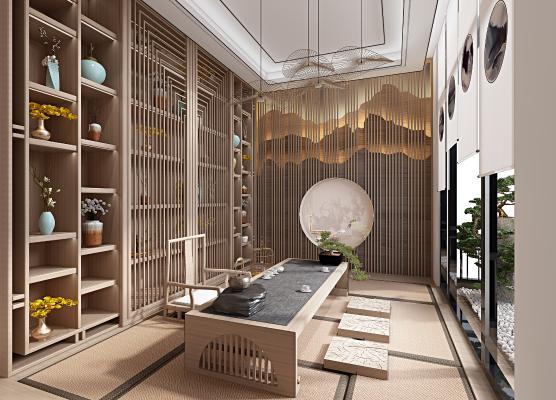 新中式茶室3D模型【ID:652584159】