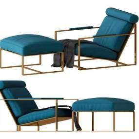 现代布艺休闲沙发椅3D模型【ID:634486720】