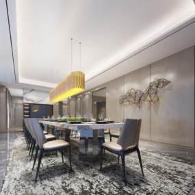 现代风格餐厅3D模型【ID:543304159】