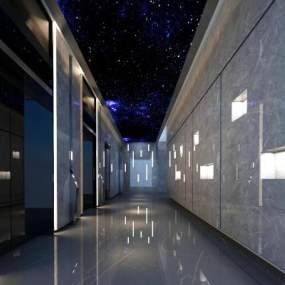 现代高端会所商场电梯厅3D模型【ID:143387226】