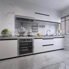 现代厨房3D模型【ID:535332377】