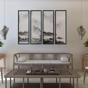 新中式沙发组合3D模型【ID:636229729】