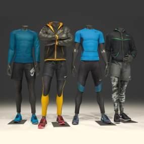 现代Nike男士服装模特3D模型【ID:332919088】