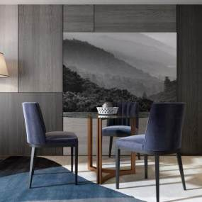 现代餐厅餐桌餐椅组合3D模型【ID:530431157】