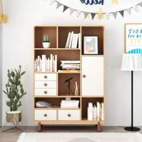 北欧实木儿童书柜3D模型【ID:145663547】