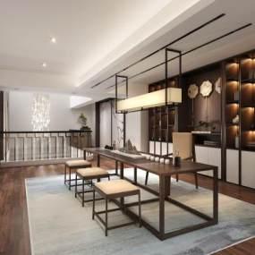 新中式茶室3D模型【ID:647823141】