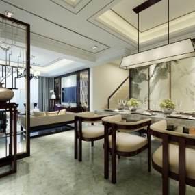 新中式餐厅3D模型【ID:534710123】