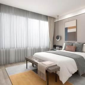 新中式卧室3D模型【ID:546537054】