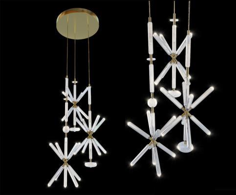 现代玻璃创意吊灯3D模型【ID:750215875】
