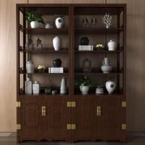 中式装饰柜3D模型【ID:131656180】
