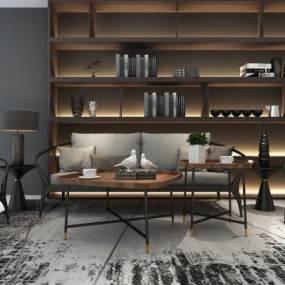 现代沙发茶几组合3D模型【ID:631509767】