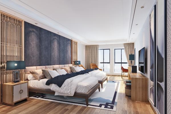 新中式酒店卧室3D模型【ID:742702311】