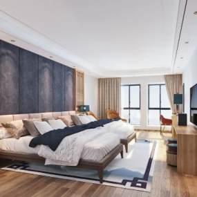新中式酒店�P室3D模型【ID:742702311】