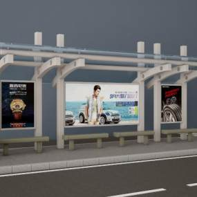 车站站牌候车厅候车亭3D模型【ID:936164906】