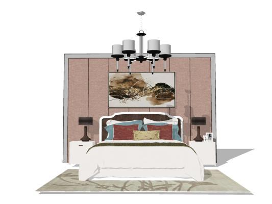 美式臥室床具組合SU模型【ID:545260269】