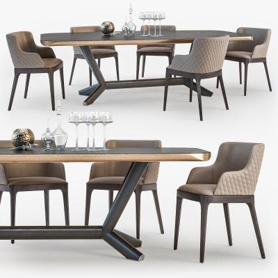 现代实木餐桌椅组合3D模型【ID:842171889】