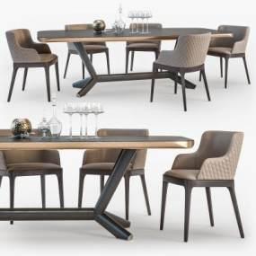 现代实木餐桌椅组合 3D模型【ID:842171889】
