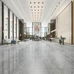 现代酒店大堂3D模型【ID:732145050】