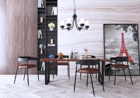 工业风黑色铁艺餐桌椅组合装饰画吊灯3D模型【ID:843941892】