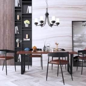工業風黑色鐵藝餐桌椅組合裝飾畫吊燈3D模型【ID:843941892】