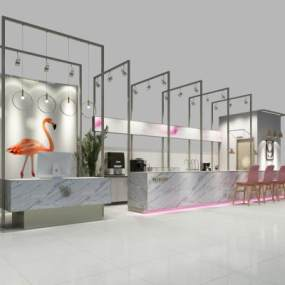 现代水吧咖啡店3D模型【ID:631321376】