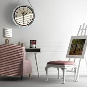 现代休闲桌椅挂钟组合3D模型【ID:835759990】