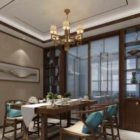 新中式餐厅3D模型【ID:535679181】