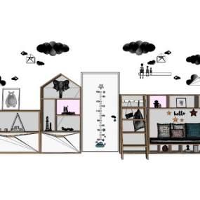 现代儿童房软装组合 书柜 家具【ID:545010326】