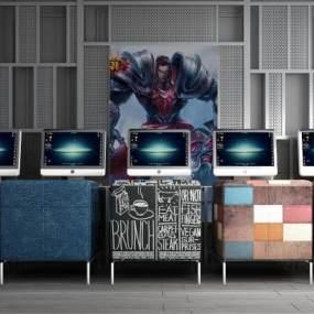 工业风网吧电脑桌椅屏风隔断组合 3D模型【ID:740833996】