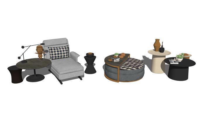 現代貴妃椅茶幾邊幾組合SU模型【ID:647767018】