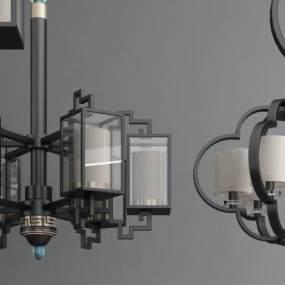 新中式金属圆形吊灯 3D模型【ID:741383873】