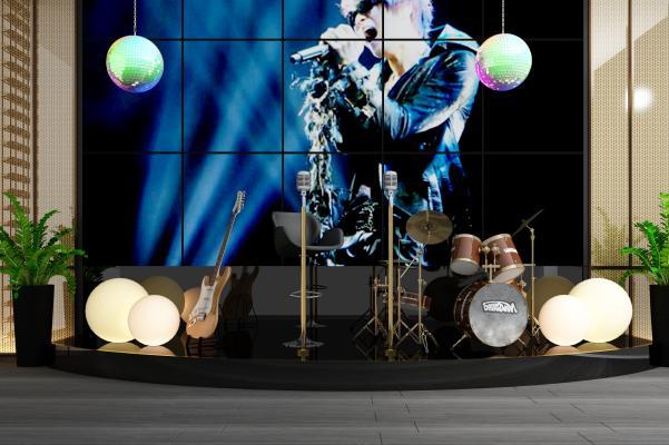 现代音乐台酒吧舞台架子鼓吉他麦克风组合3D模型【ID:841250173】