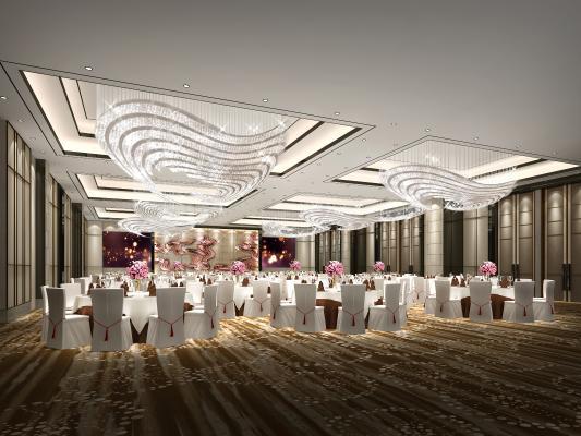 现代酒店宴会厅3D模型【ID:734472279】