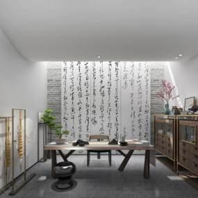 新中式书法室3D模型【ID:553011441】