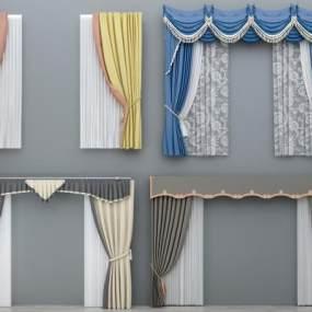 现代简欧布艺窗帘窗纱组合3D模型【ID:233438601】