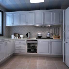 歐式簡約廚房3D模型【ID:534814339】