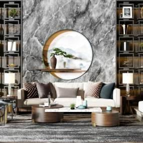 新中式沙发茶几组合3D模型【ID:635332754】