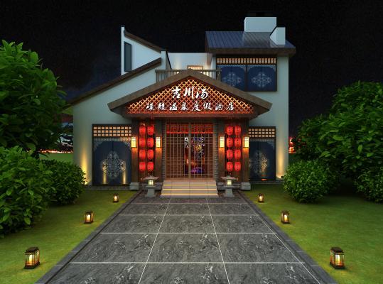 日式酒店日式别墅3D模型【ID:132225245】
