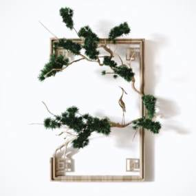 新中式禪意松柏墻飾3D模型【ID:252230762】