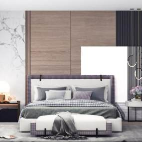 現代床具3D模型【ID:851794772】