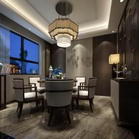 新中式餐厅3D模型【ID:553702132】