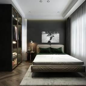 现代简约卧室 3D模型【ID:541765286】