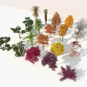 现代室外树木组合3D模型【ID:250620883】