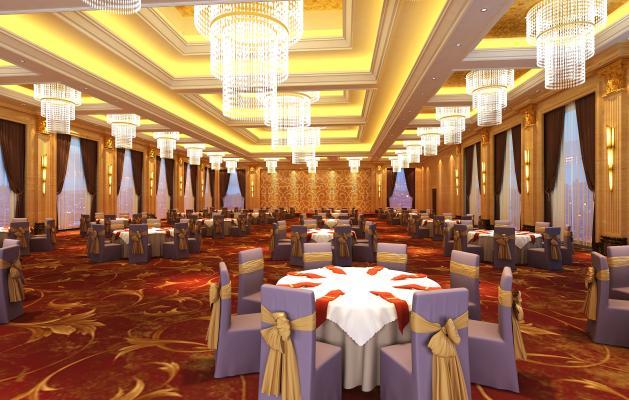 现代酒店宴会厅3D模型【ID:731197208】