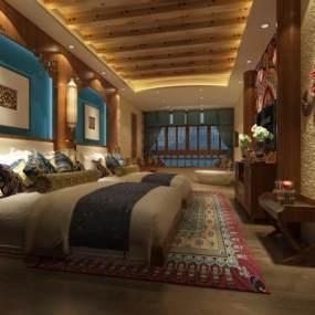 新中式酒店客房3D模型【ID:535238206】