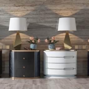 现代轻奢圆形床头柜台灯柜3D模型【ID:131616895】
