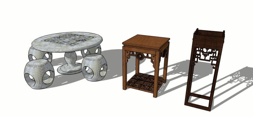 中式桌幾SU模型【ID:451351185】