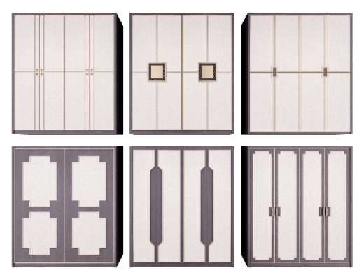 新中式衣柜组合3D模型【ID:140838418】