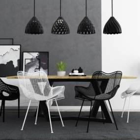 现代餐桌椅3D模型【ID:851042861】