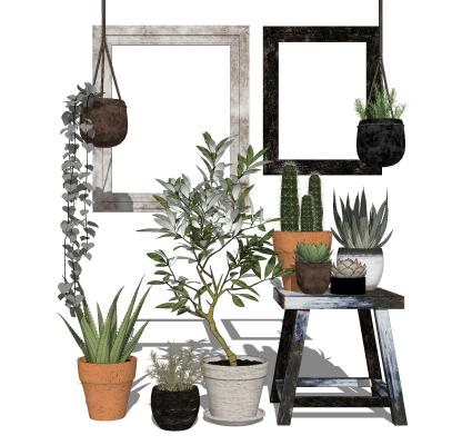 现代植物盆栽组合SU模型【ID:153212820】